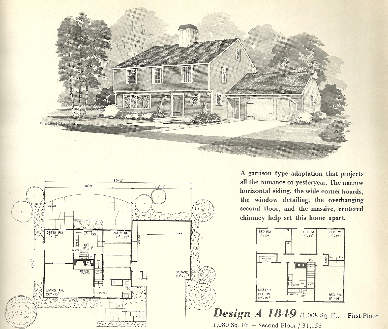 Vintage house plans 1849 antique alter ego for Antique colonial house plans