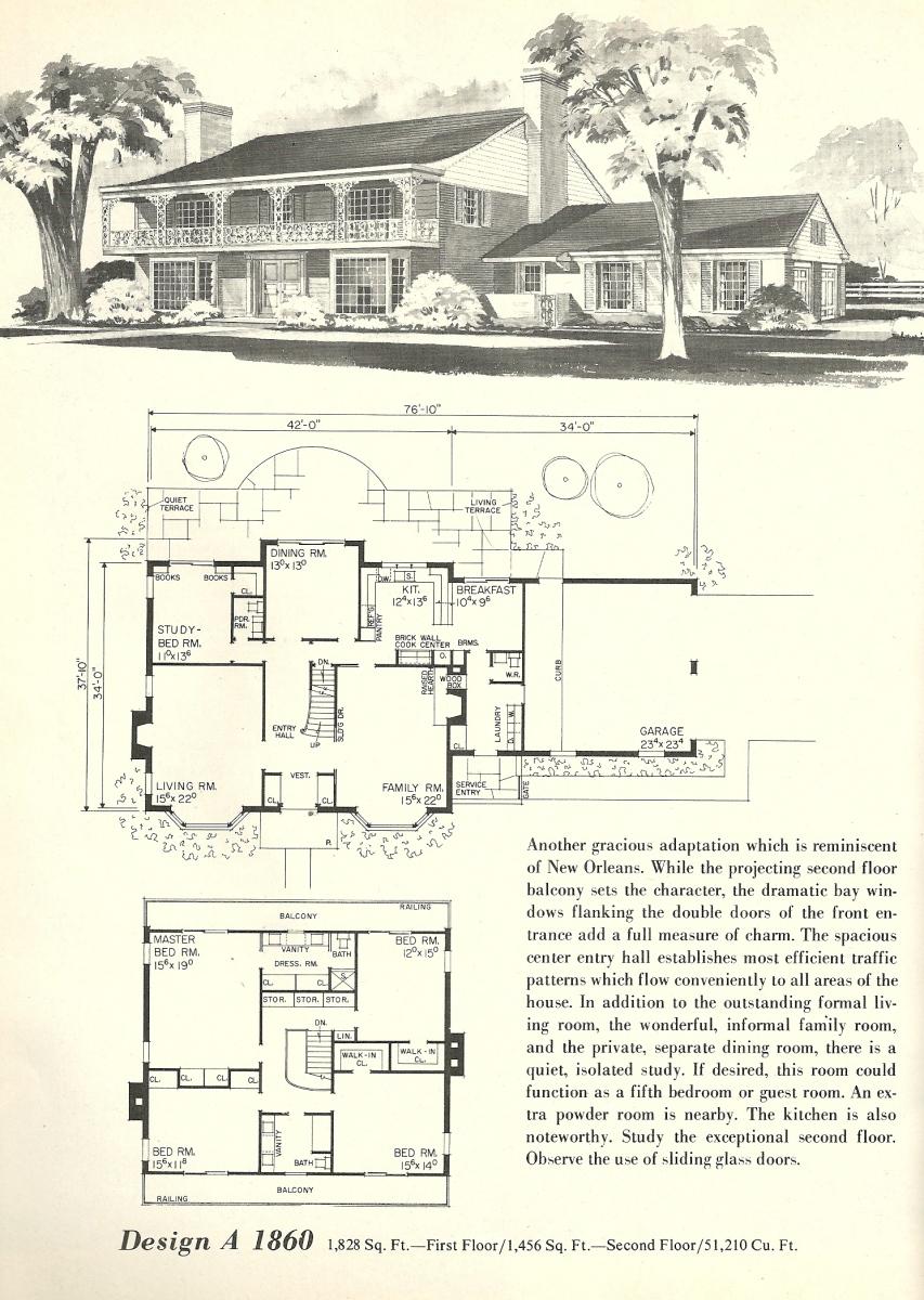 Vintage house plans 1860 antique alter ego for 1970s house plans