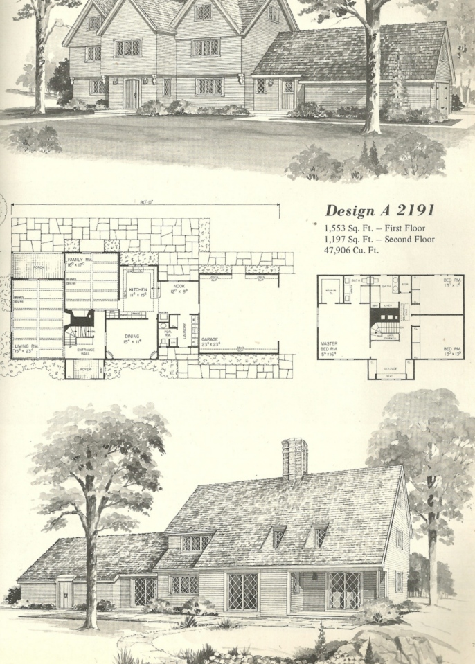 Vintage house plans 2191 antique alter ego for Antique colonial house plans