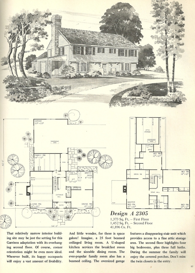 Vintage house plans 2305 antique alter ego for Antique colonial house plans
