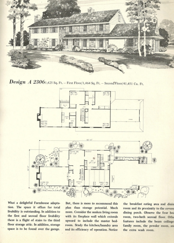 Vintage house plans 2306 antique alter ego for Antique colonial house plans