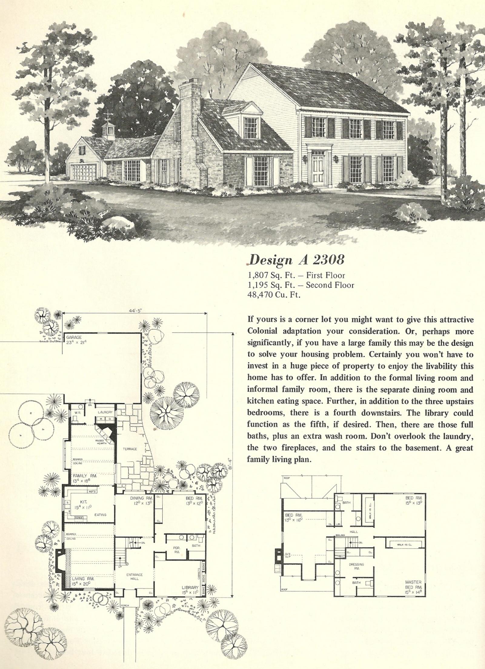 Vintage house plans 2308 antique alter ego for Antique colonial house plans
