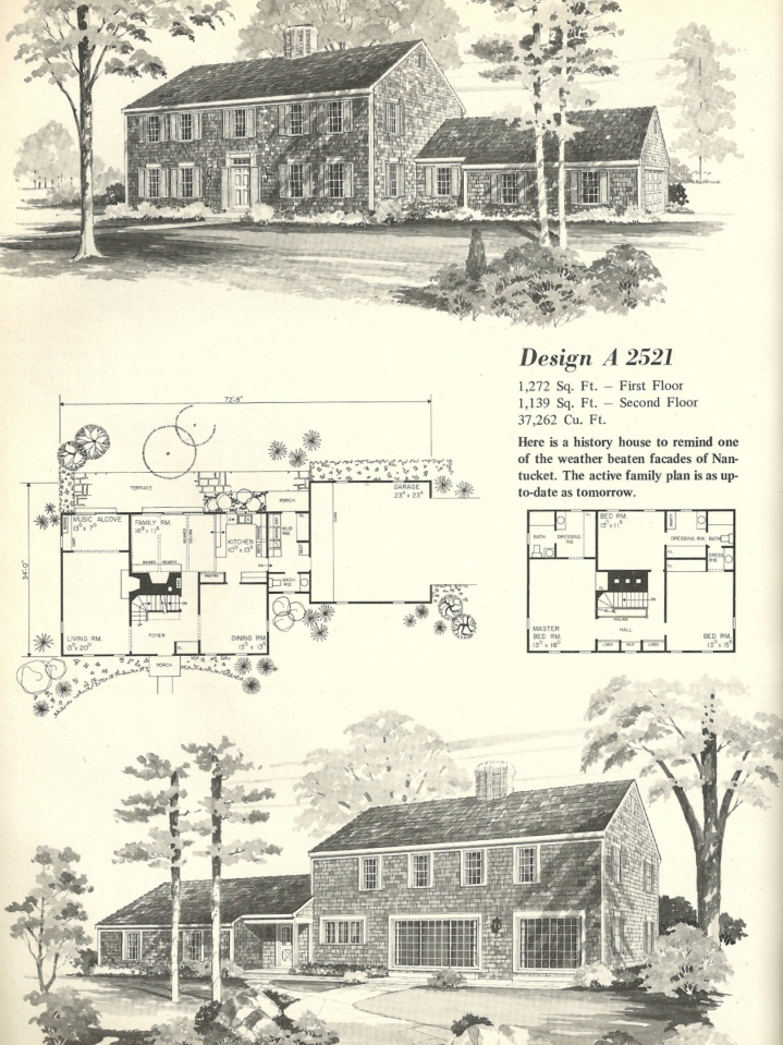 Vintage house plans 2521 antique alter ego for Antique colonial house plans
