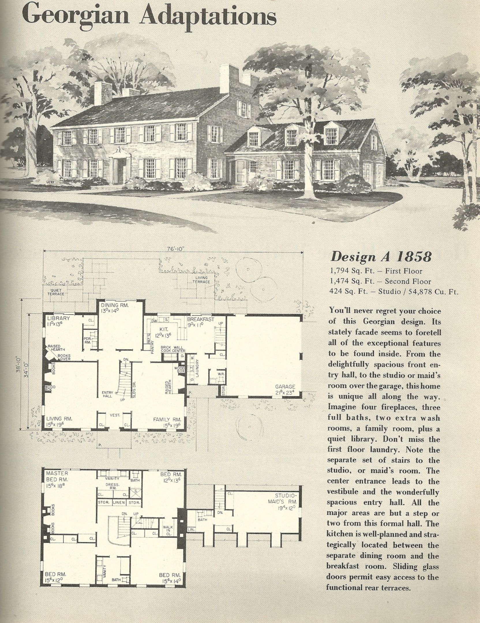 Vintage House Plans Georgian 1858 Antique Alter Ego