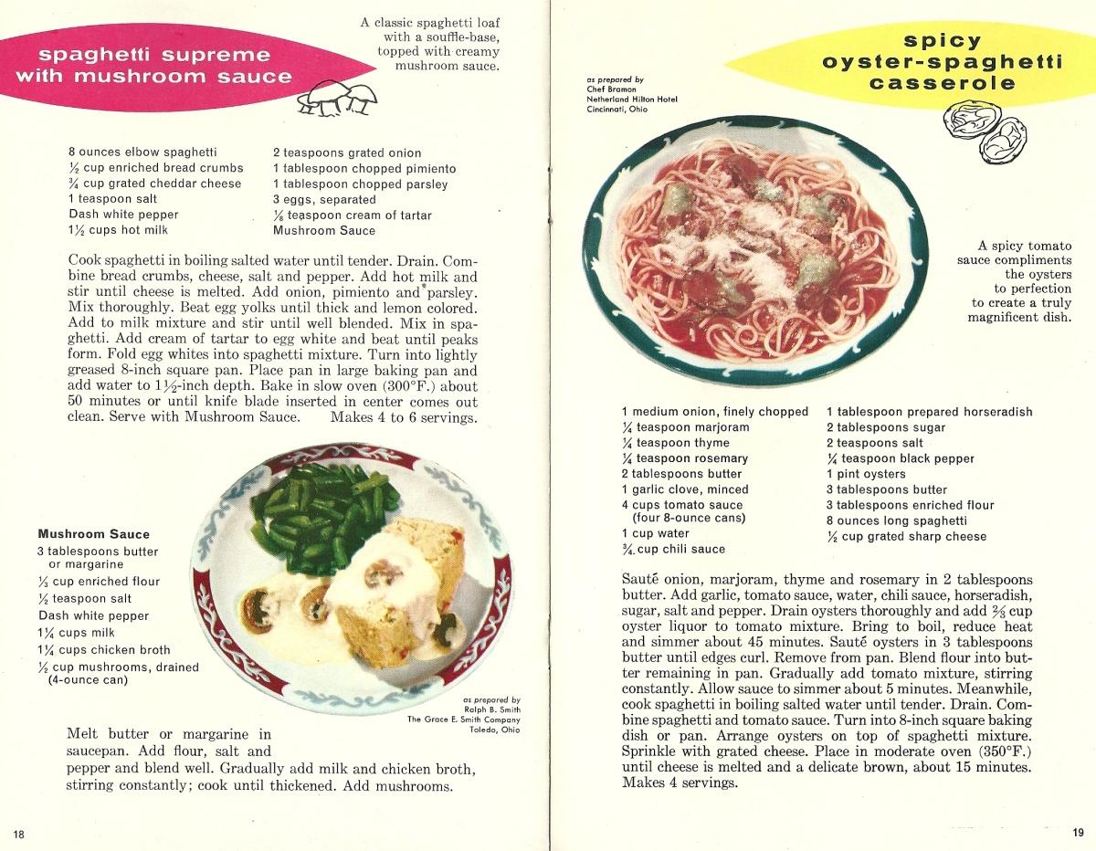 Vintage Recipes, 1960s Pasta Recipes
