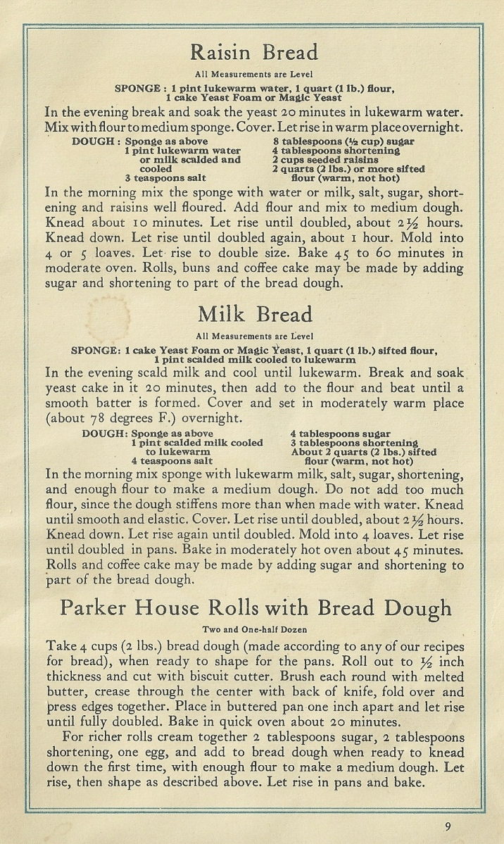 Vintage Recipes, Baking Bread