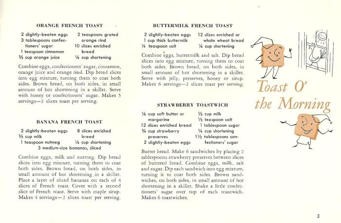 vintage recipes, toast