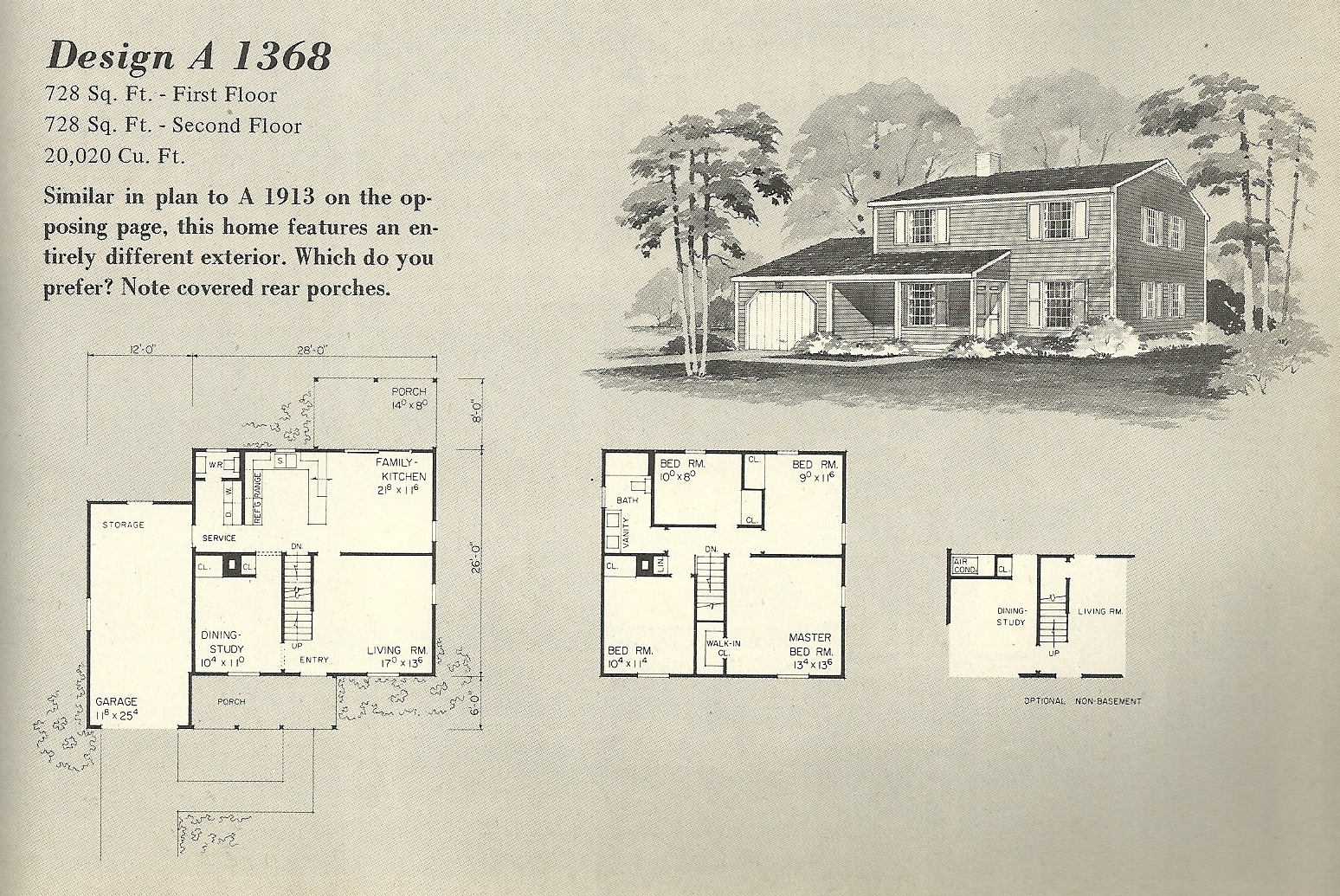 Vintage house plans 1368 antique alter ego for Vintage floor plans