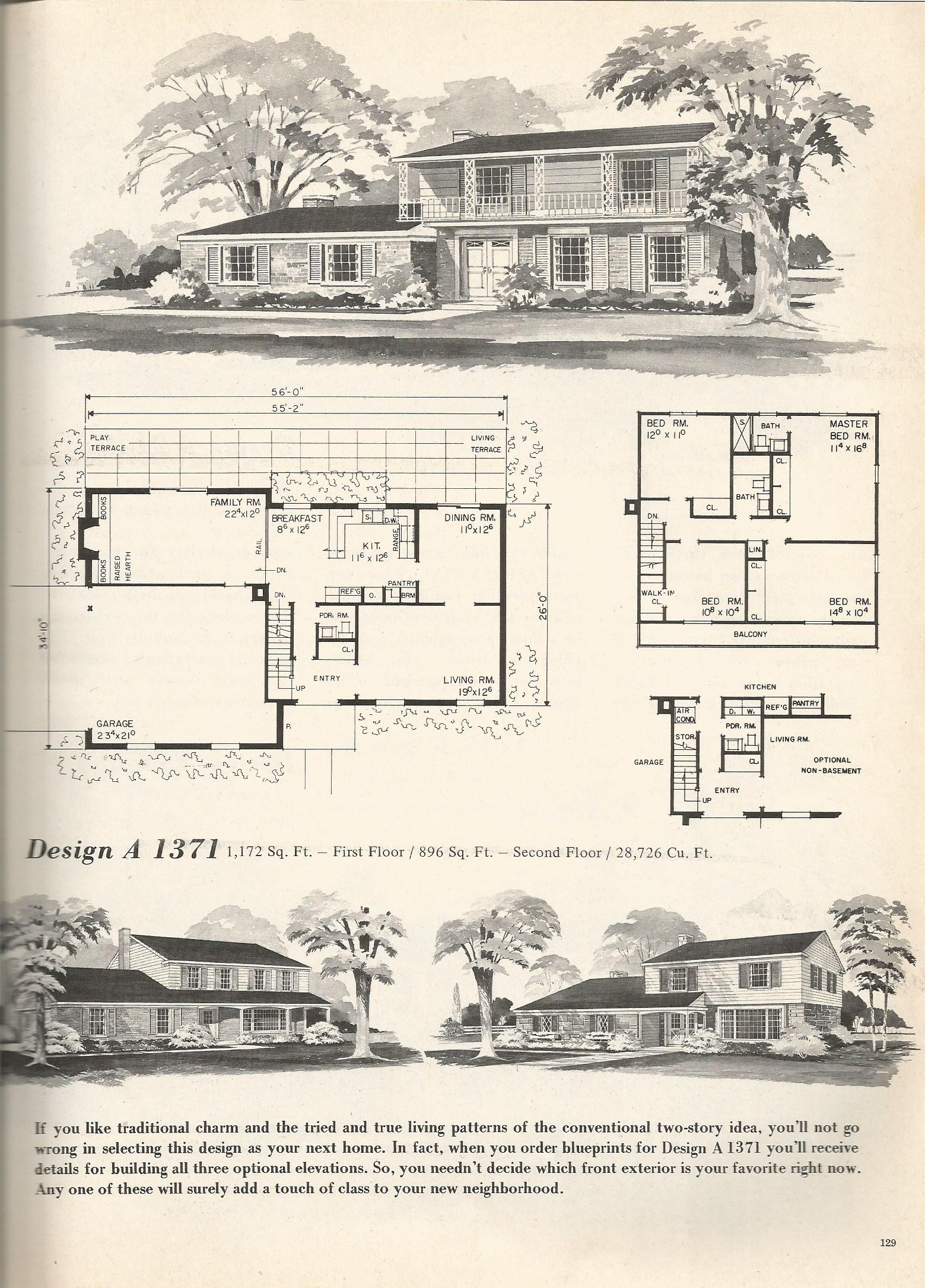Vintage house plans 1371 antique alter ego for 1970s house floor plans
