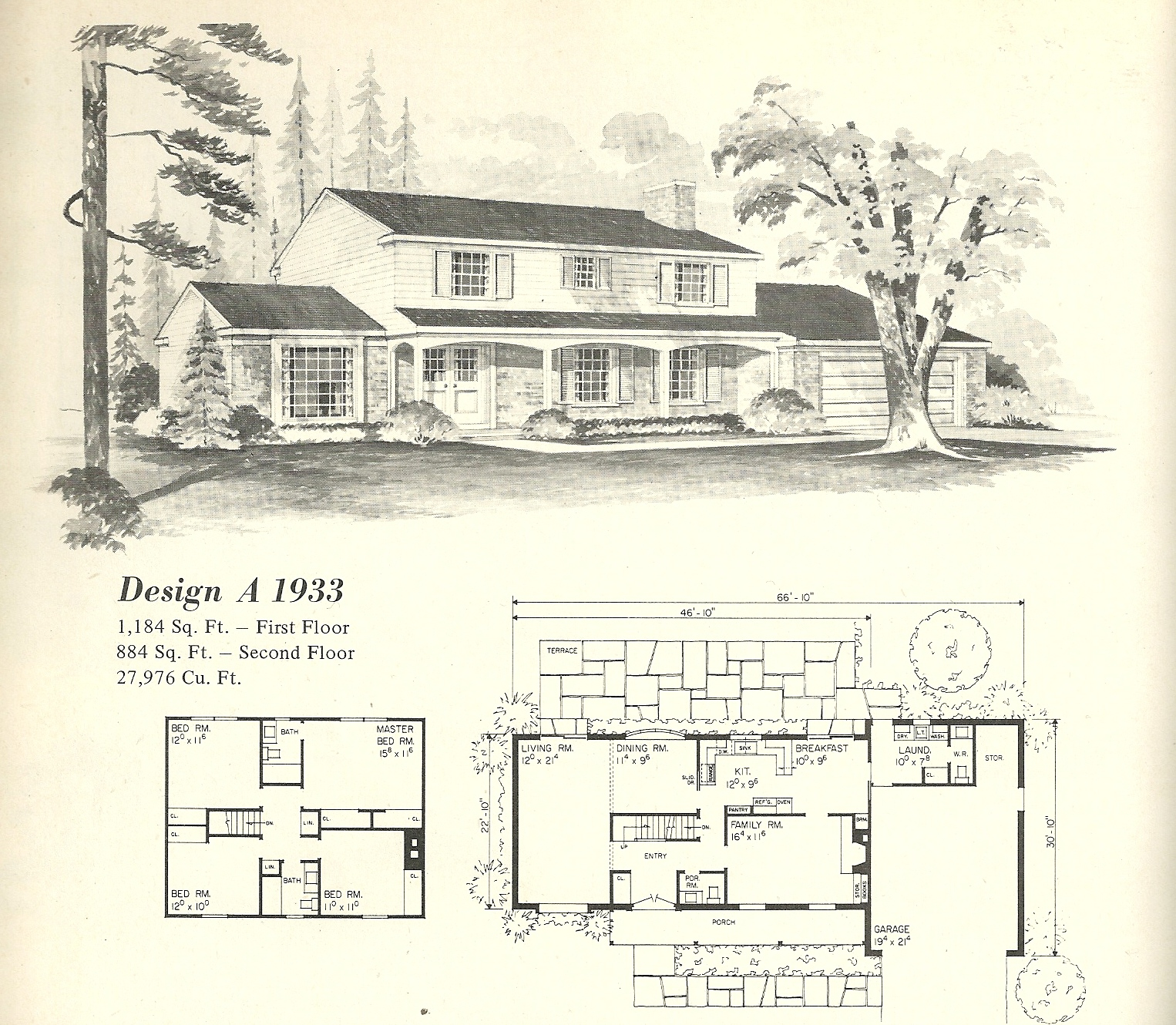 Vintage house plans 1970s english style tudor homes for Vintage home plans