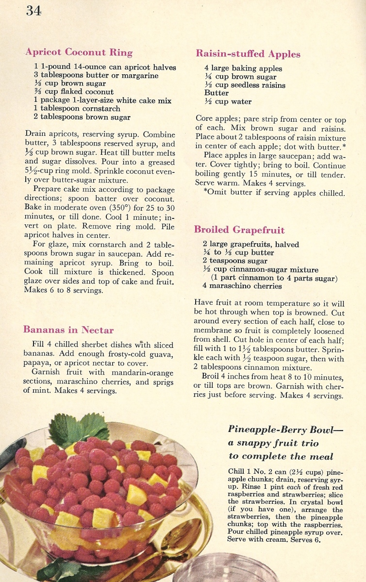 vintage recipes, 1960s desserts