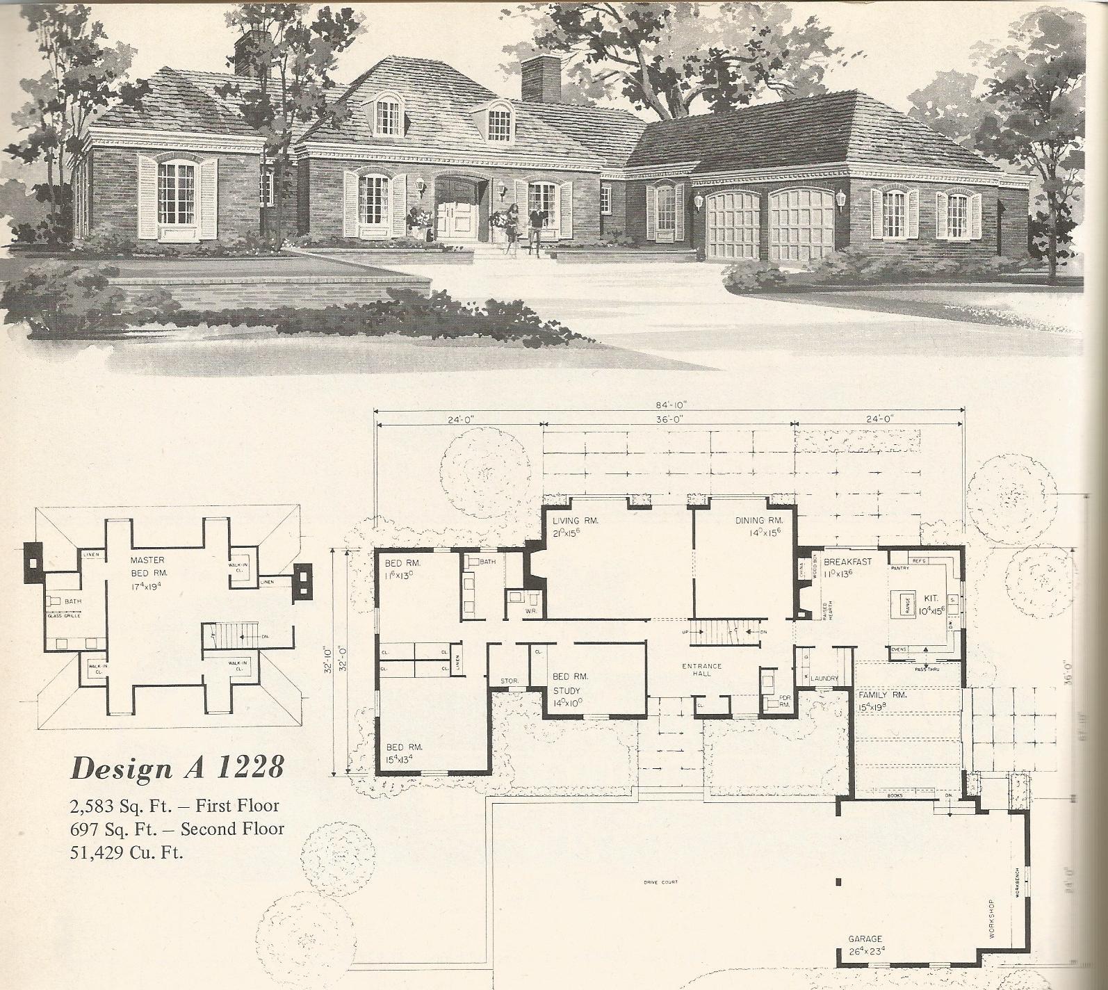 Vintage home plans country estates 1228 antique alter ego for Country estate home plans
