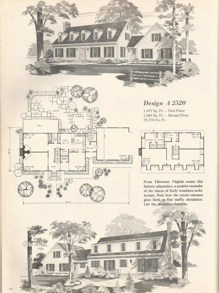 Vintage home plans country estates 2520 antique alter ego for Country estate home plans