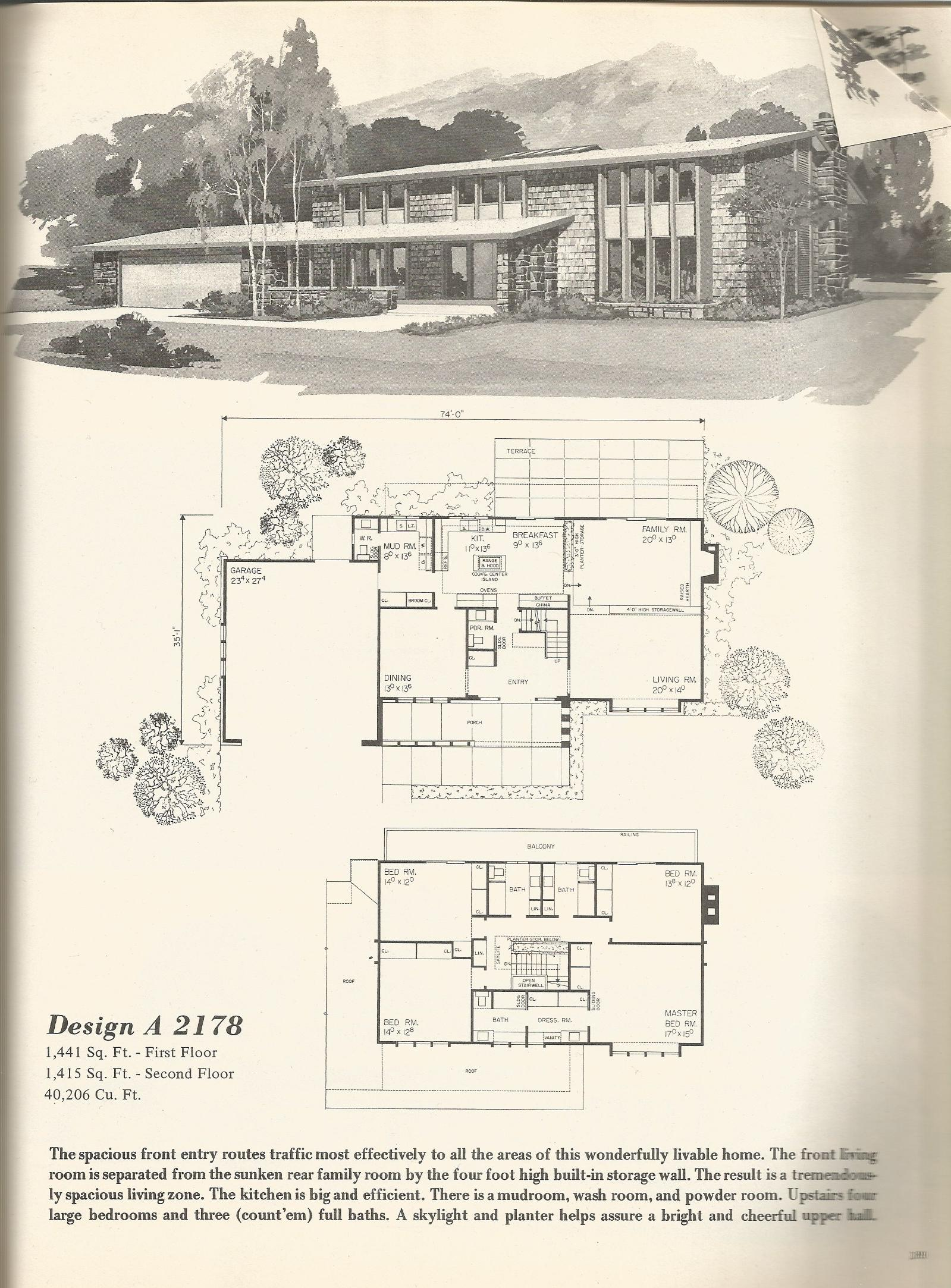 Vintage house plans 2178 antique alter ego for 1970s house floor plans