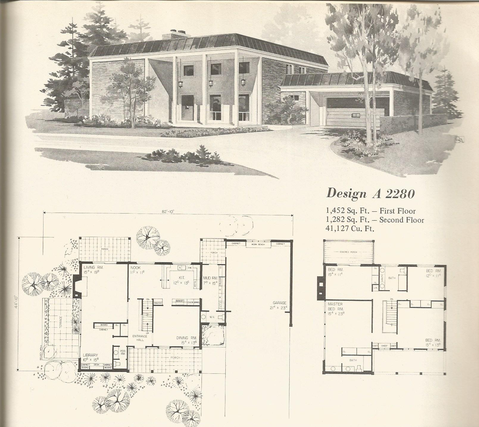 Vintage house plans 2280 antique alter ego for Vintage floor plans