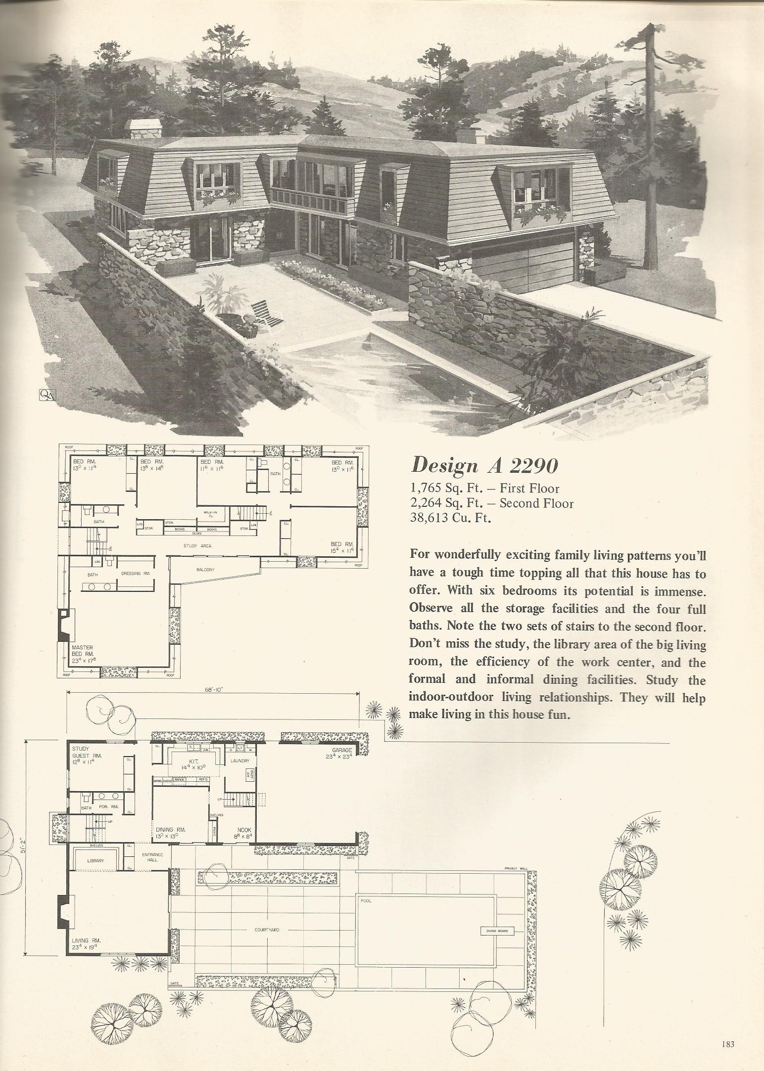 Vintage house plans 2290 antique alter ego for Retro modern house plans