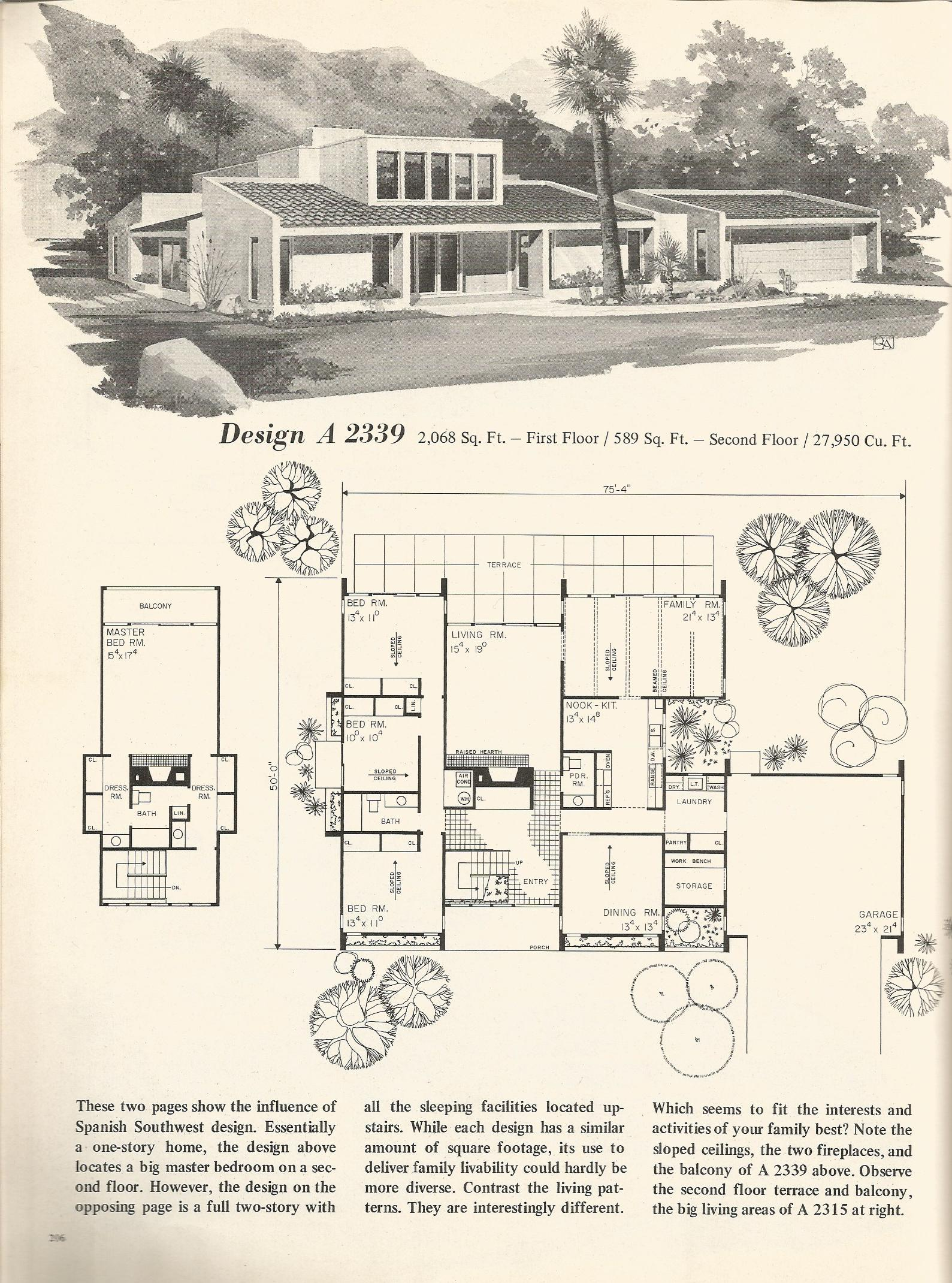 Vintage house plans 2339 antique alter ego for 1970s house floor plans