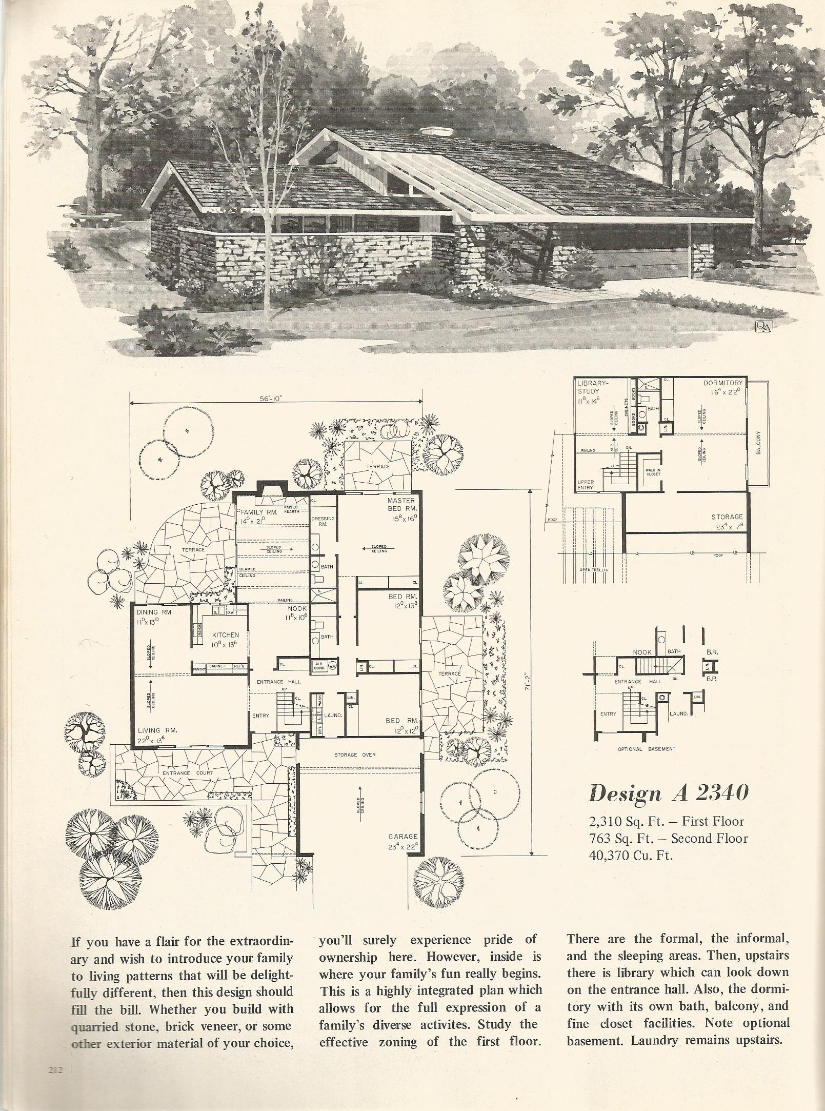 Vintage house plans 2340 antique alter ego for Retro modern house plans