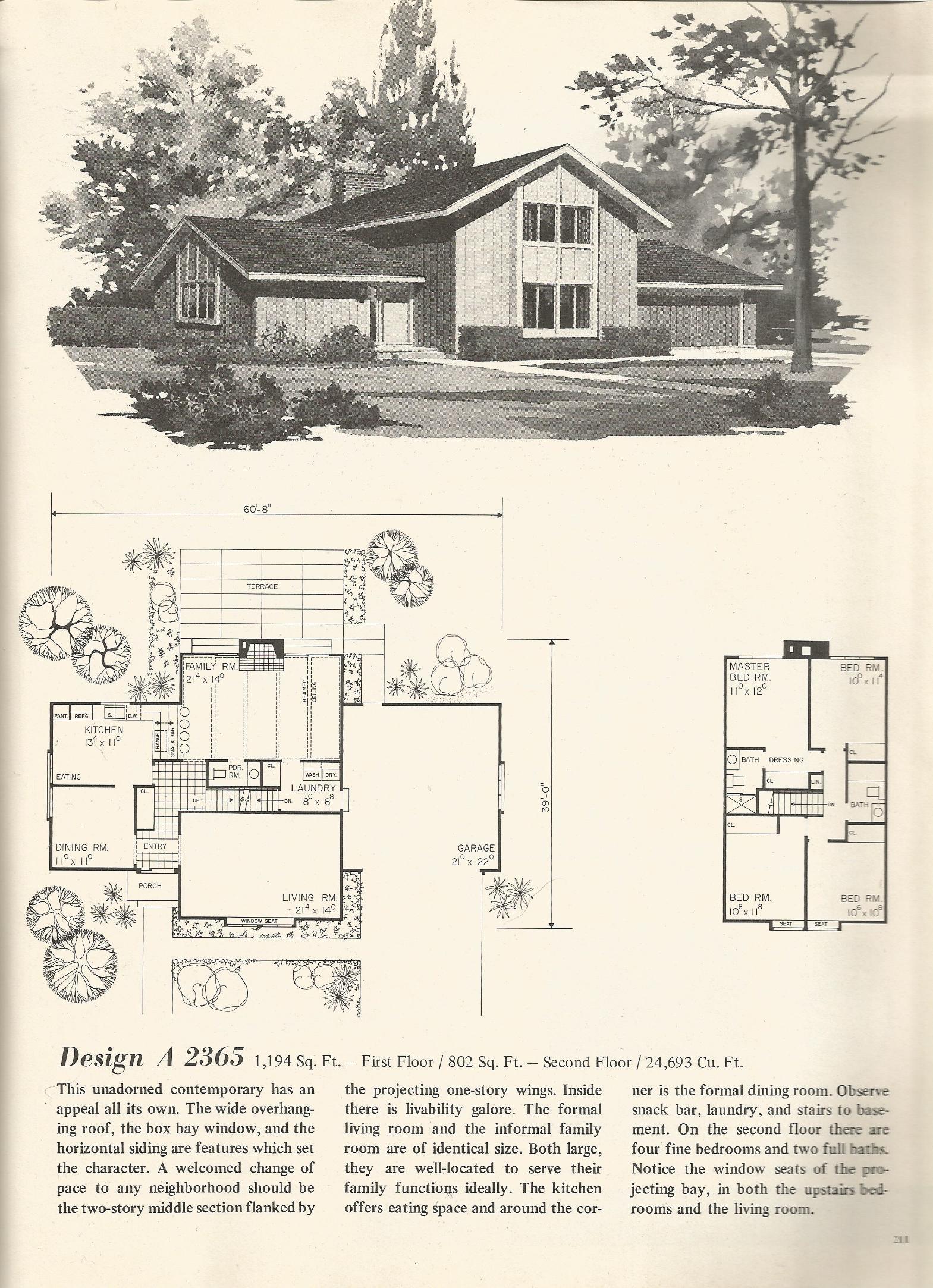 Vintage house plans 2365 antique alter ego for Retro home designs