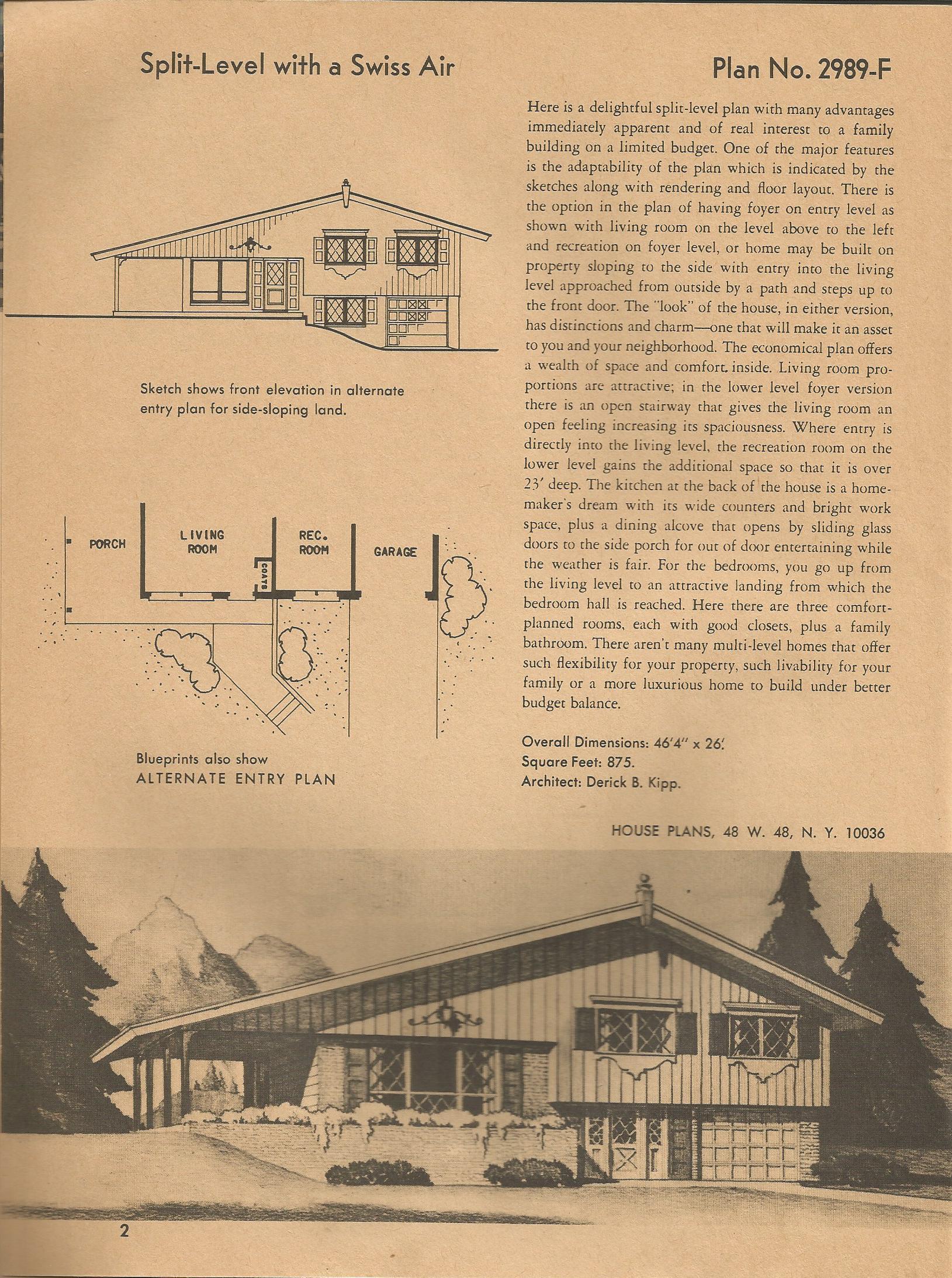 Vintage House Plans 2989 Antique Alter Ego
