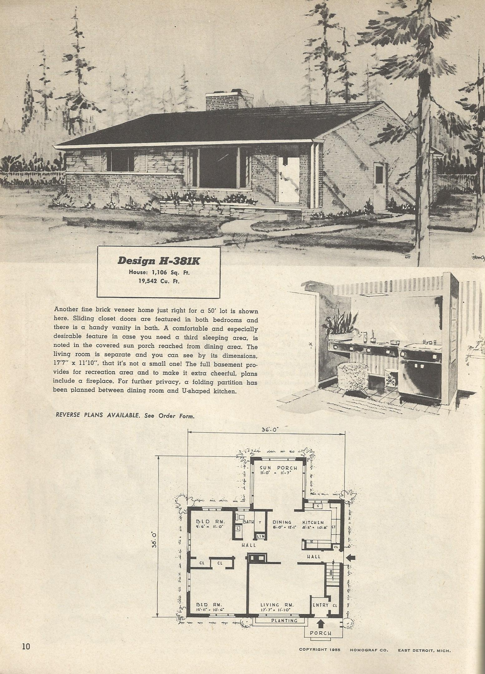 Vintage house plans 381k antique alter ego for 1950s modern house design