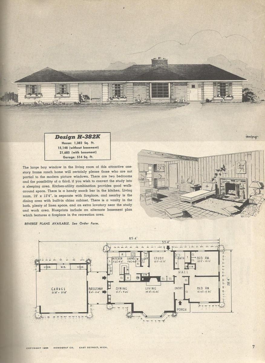 Vintage house plans 382k antique alter ego for 1950s ranch house plans