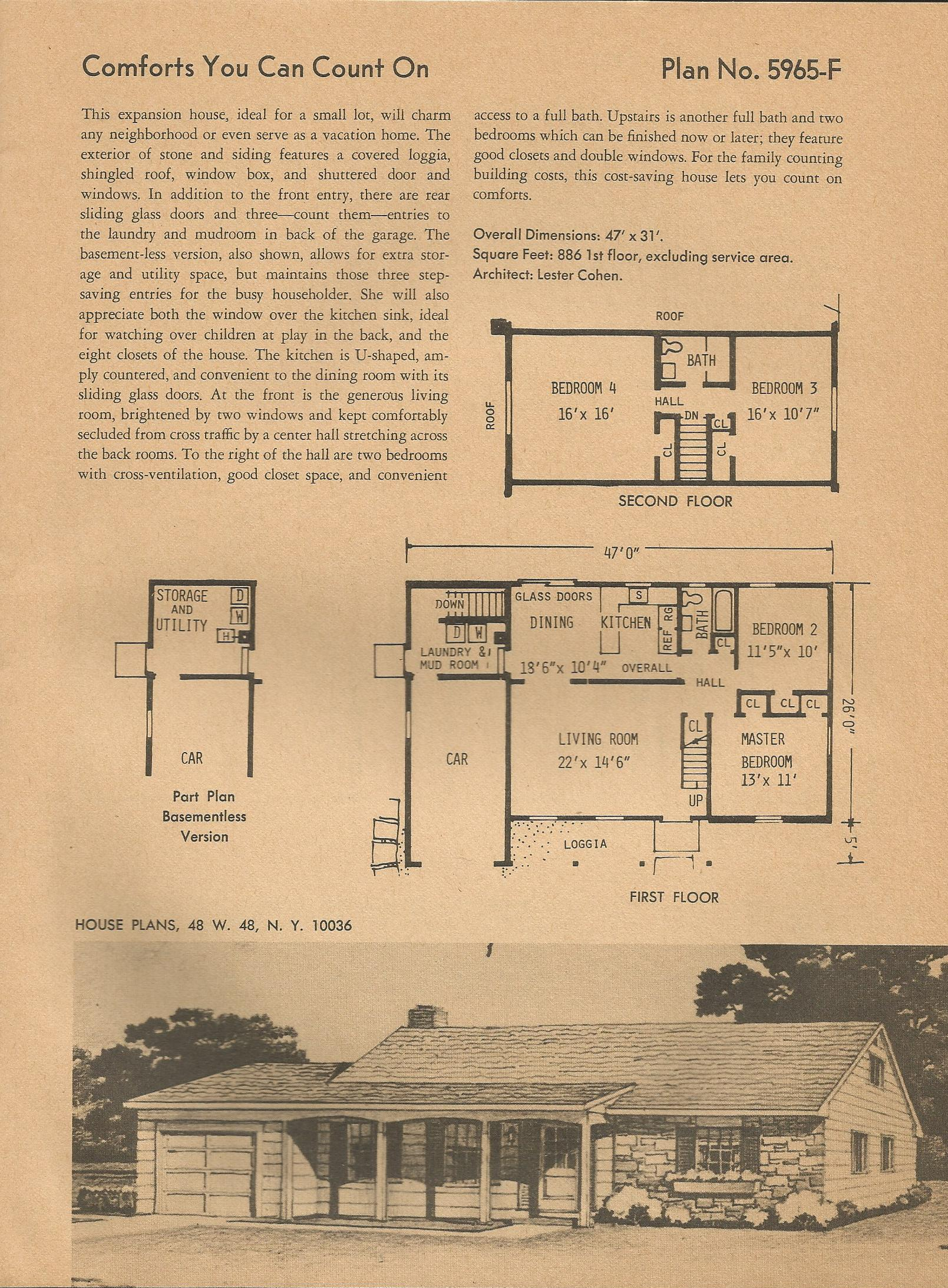 Vintage house plans 5965 for Vintage ranch house plans