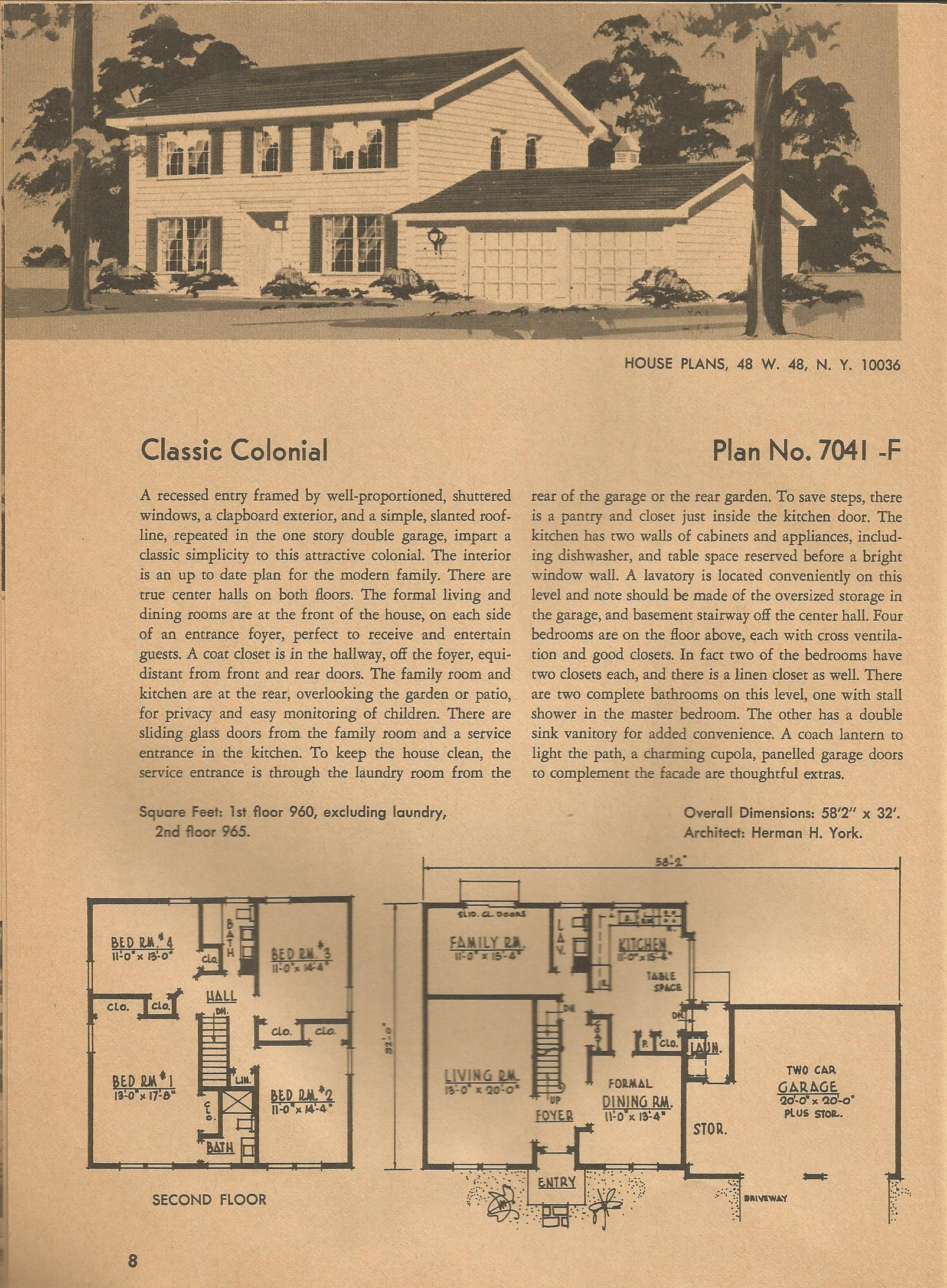 Vintage house plans 7041 antique alter ego for 1970s ranch house plans