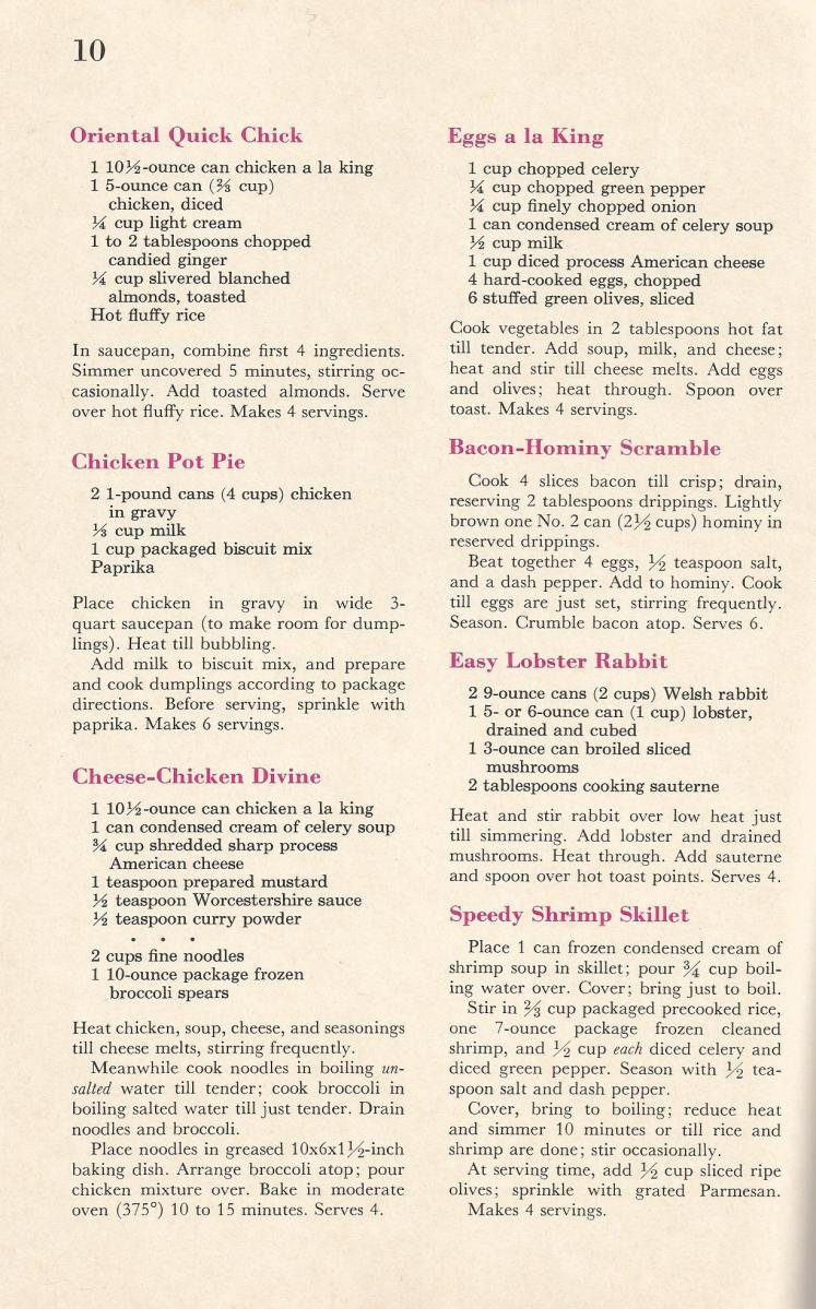 Vintage Recipes, Shortcut Cooking