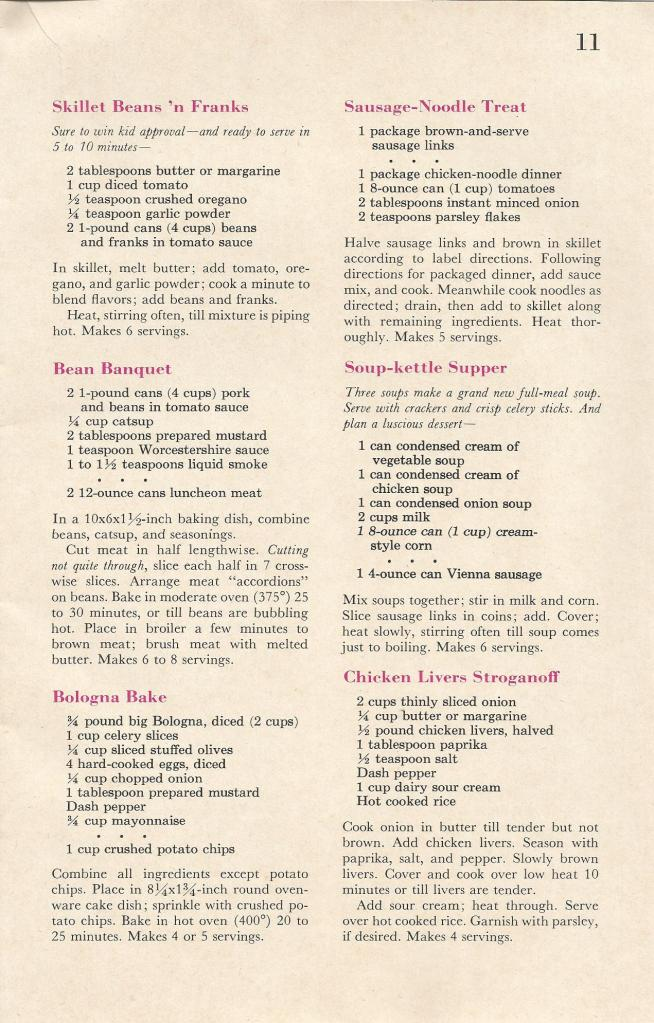 Vintage Recipes, Shortcut Cooking