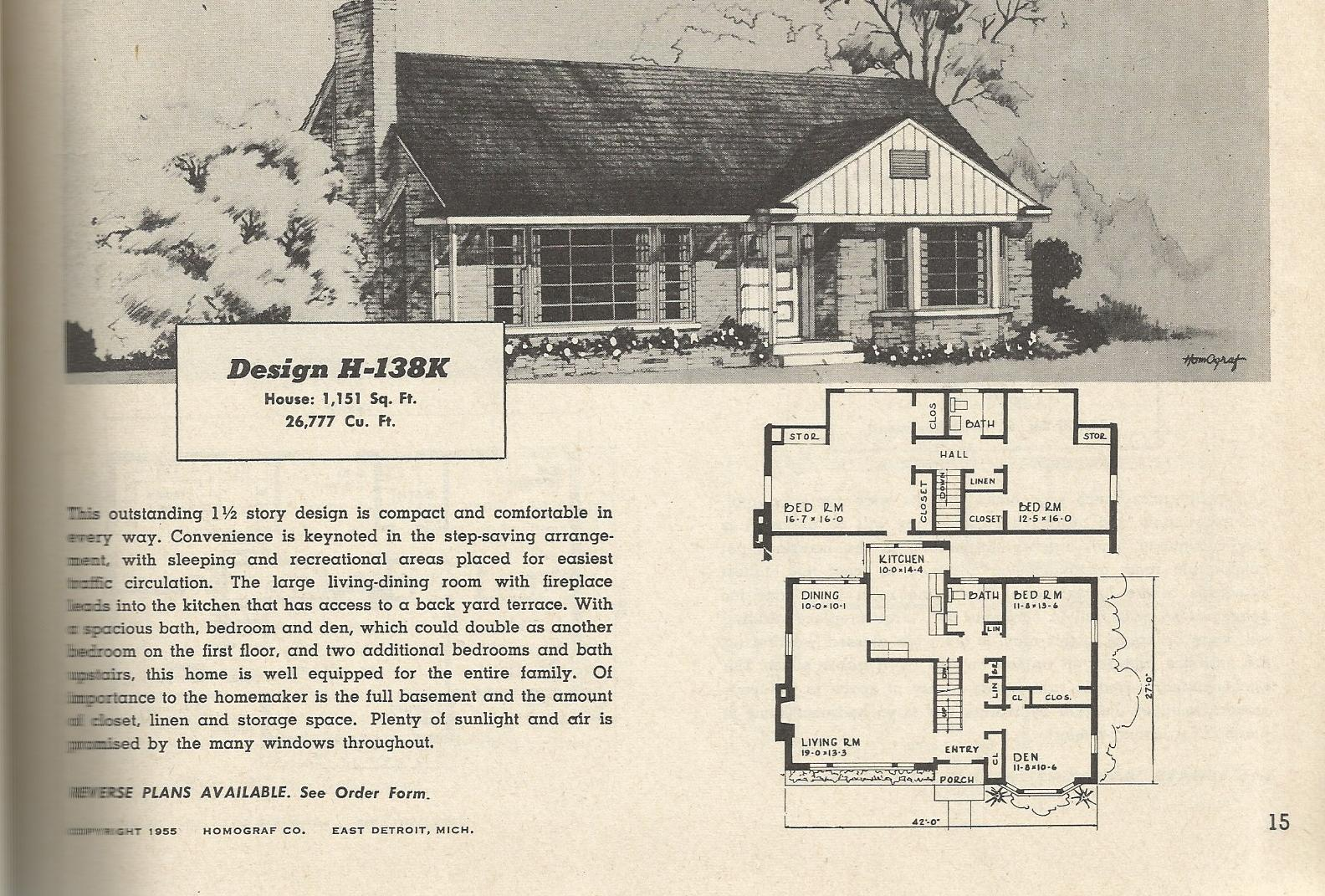Vintage house plans 138 antique alter ego for 1950s modern house design