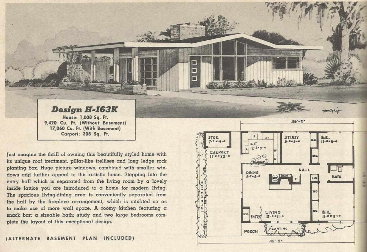 Vintage house plans 163 for 1950 s house plans