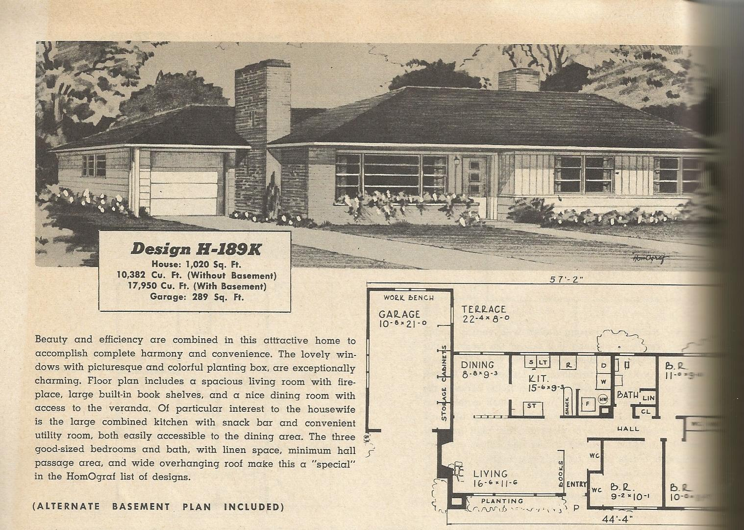 vintage house plans 189?w=300&h=213 vintage house plans 1950s two story, 1 1 2 story and ramblers,House Plans 1950s