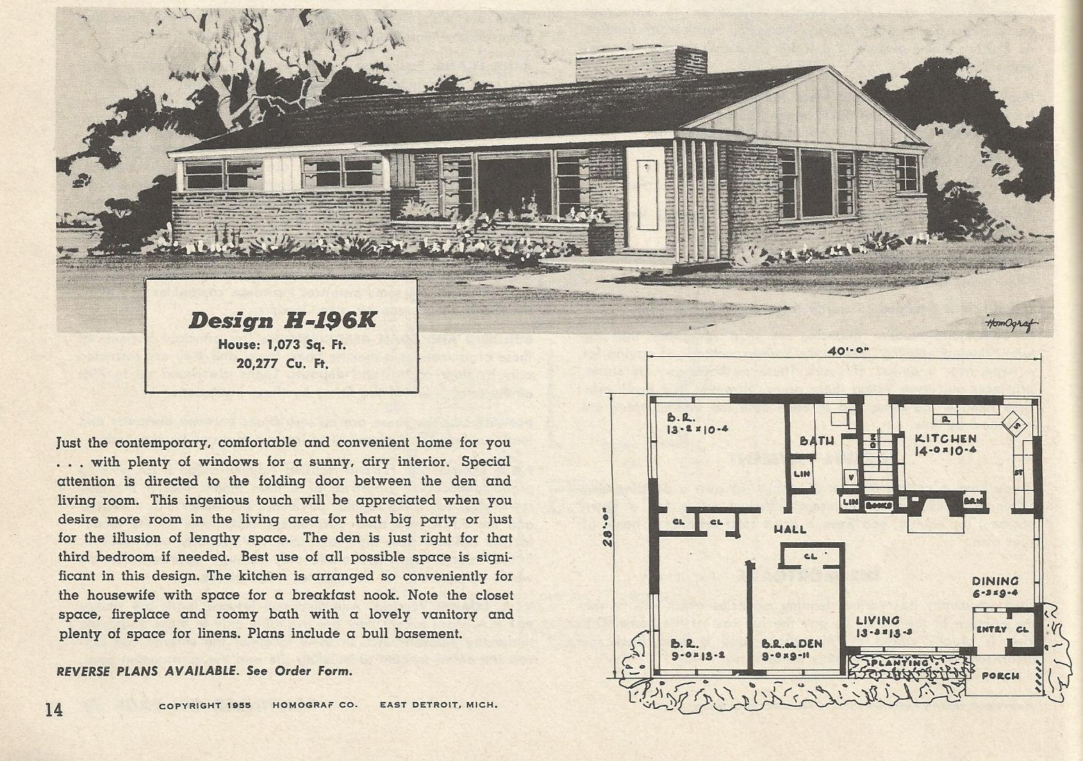 Vintage house plans 196 antique alter ego for 1950s modern house design