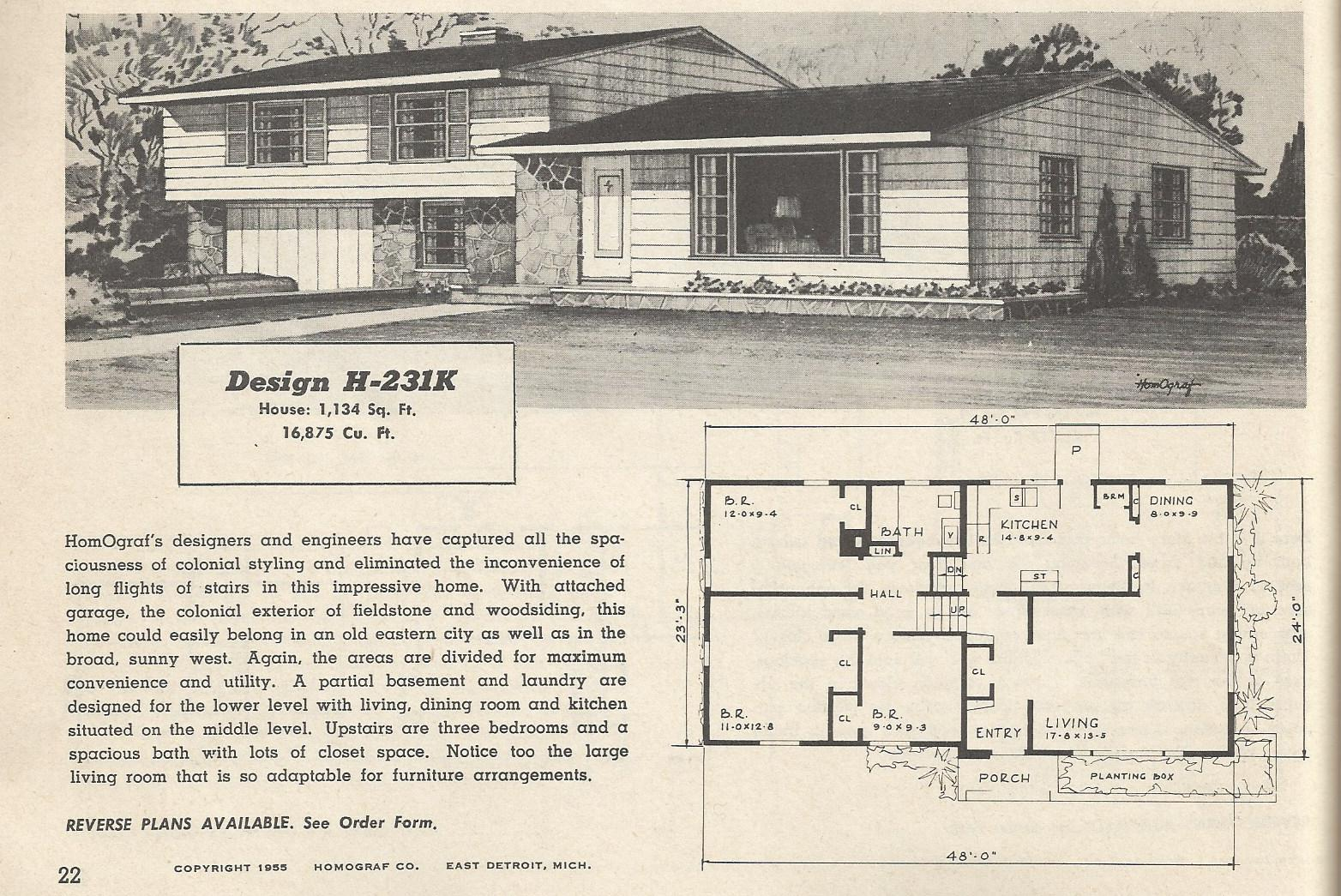 Vintage House Plans 1950s Two Story 1 12 Story and Ramblers