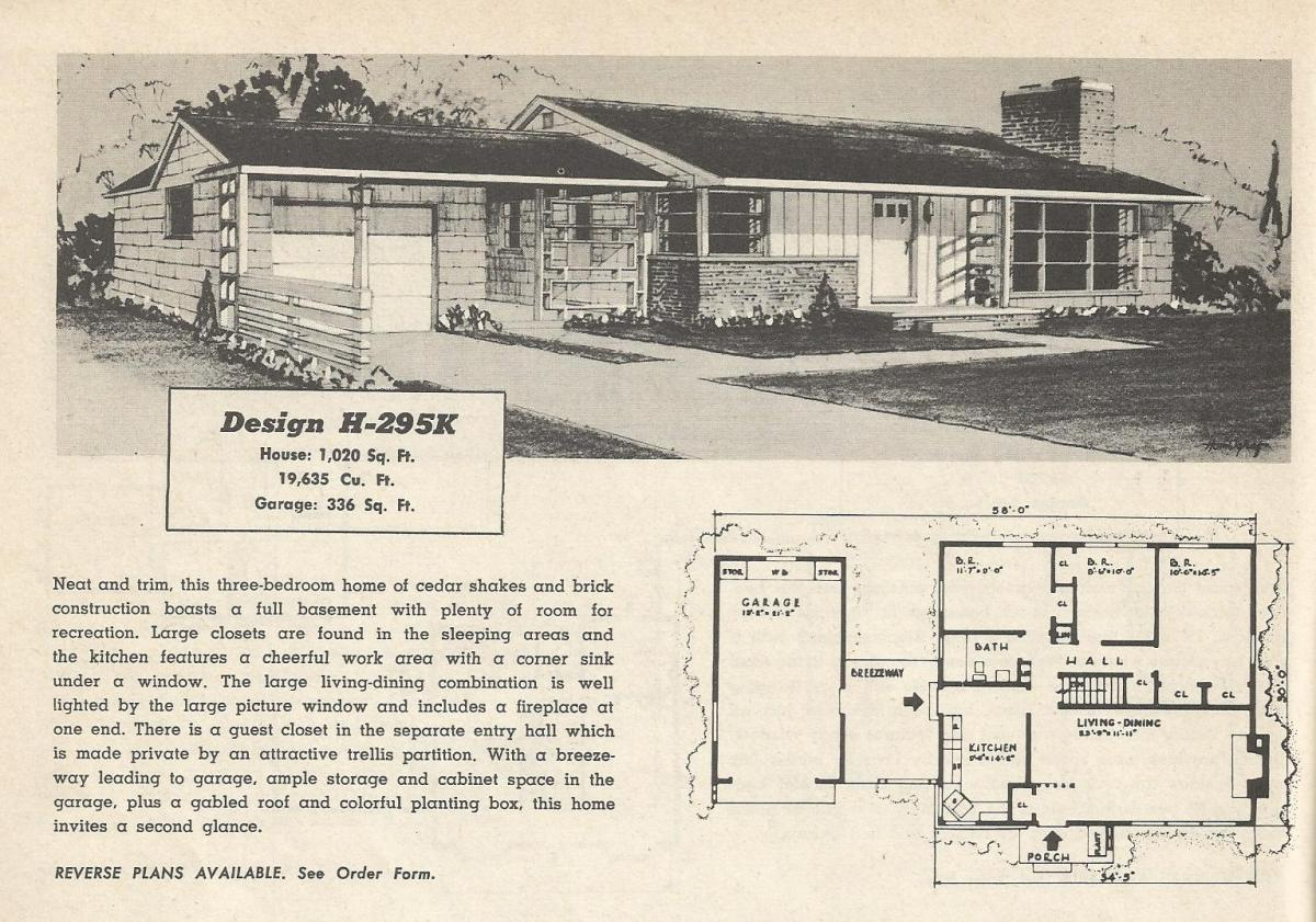 Vintage House Plans, mid century homes, 1950s houses