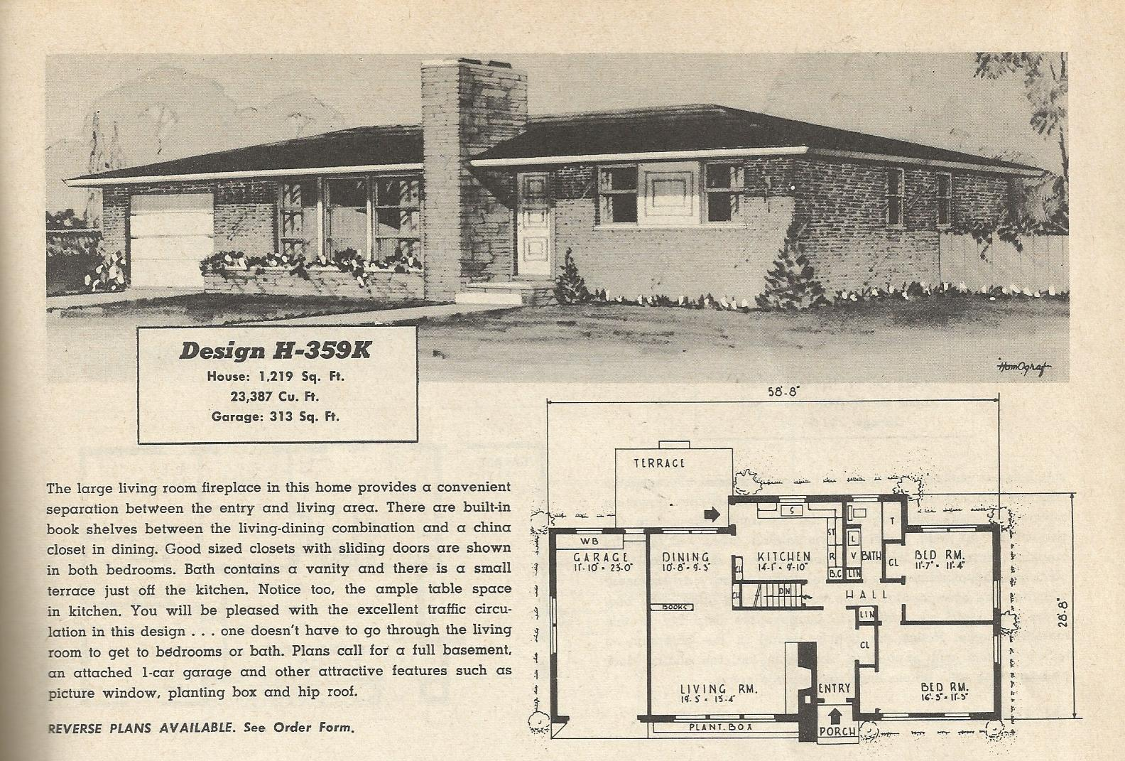 Vintage house plans 359 antique alter ego - Retro home design ...