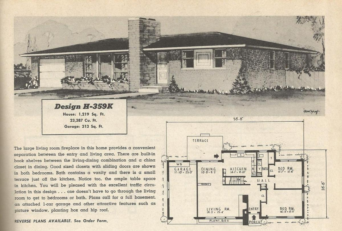 Vintage house plans 359 antique alter ego for 1950s modern house design