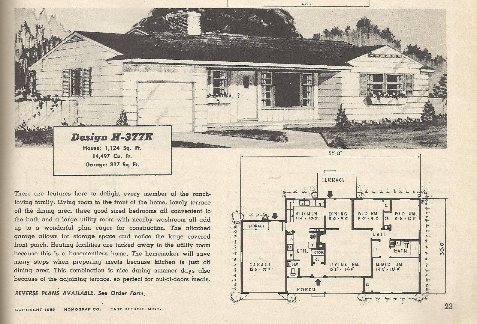 Vintage House Plans 377 on Rambler House Plan