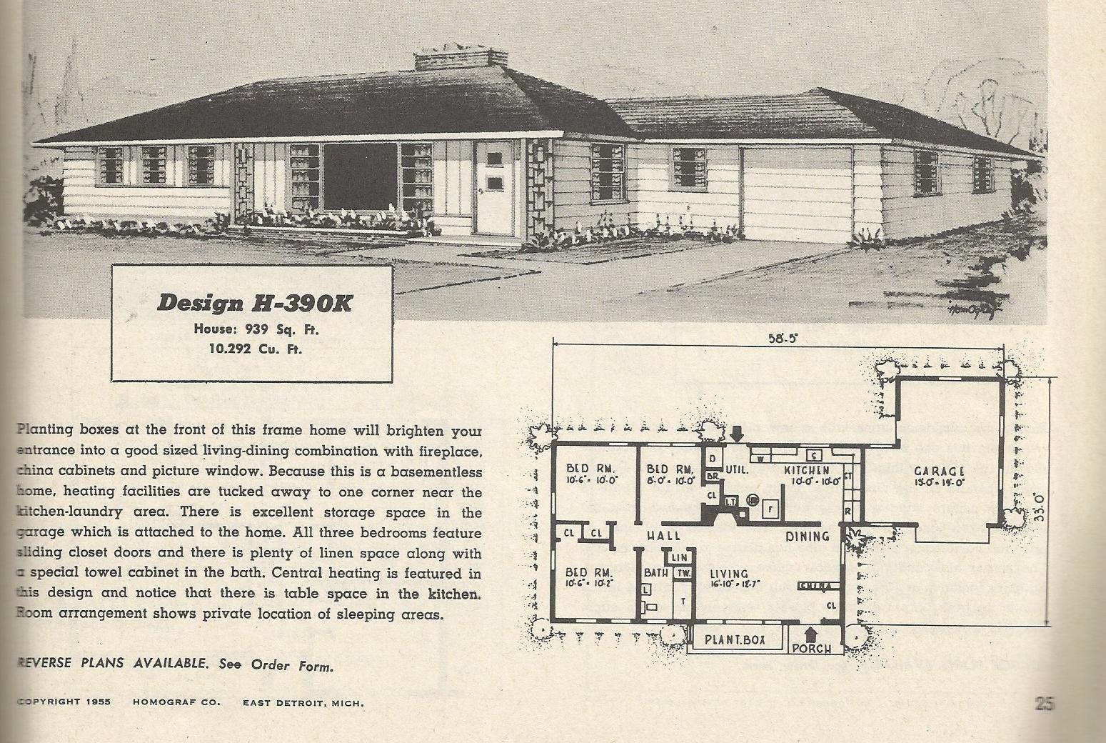Vintage house plans 390 antique alter ego for Retro modern house plans