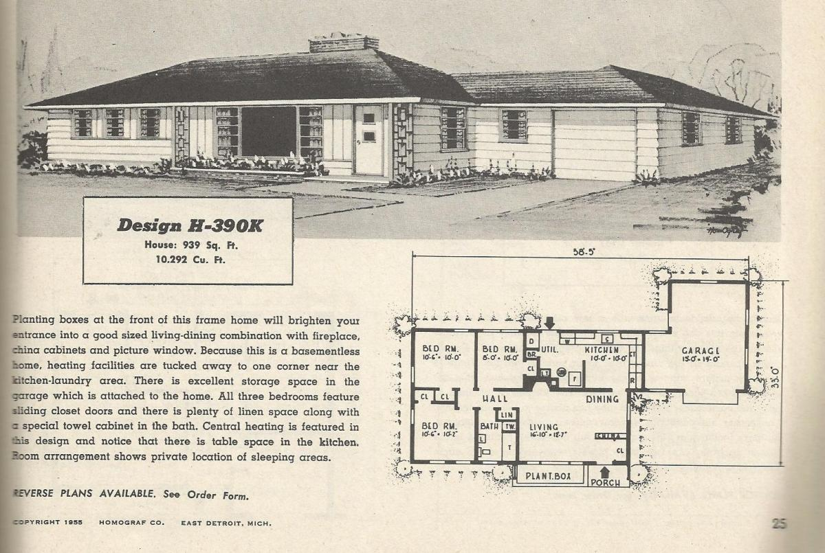 Vintage house plans 390 antique alter ego for 1950s modern house design