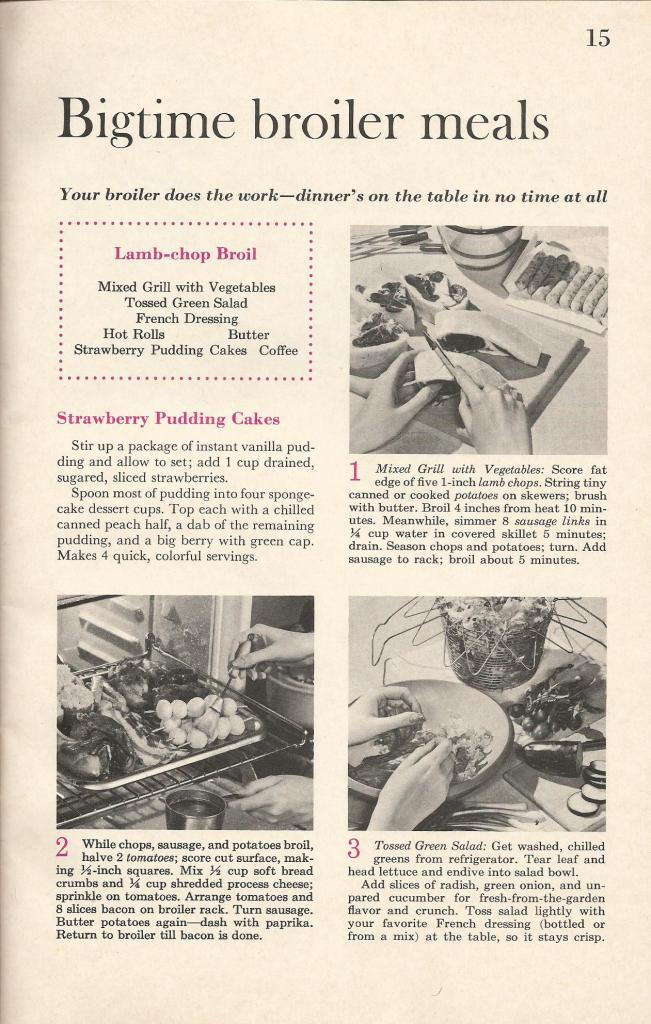 Vintage Recipes, 1960s broiler meals