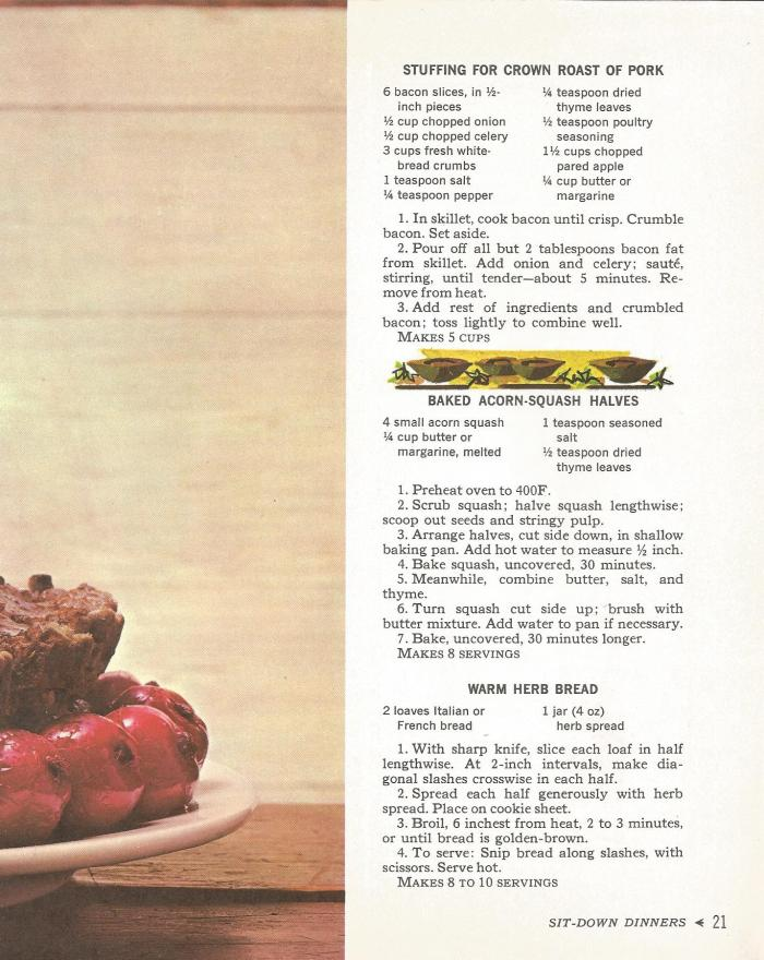 Vintage Recipes, 1960s Fancy Sit Down Meals Part 2