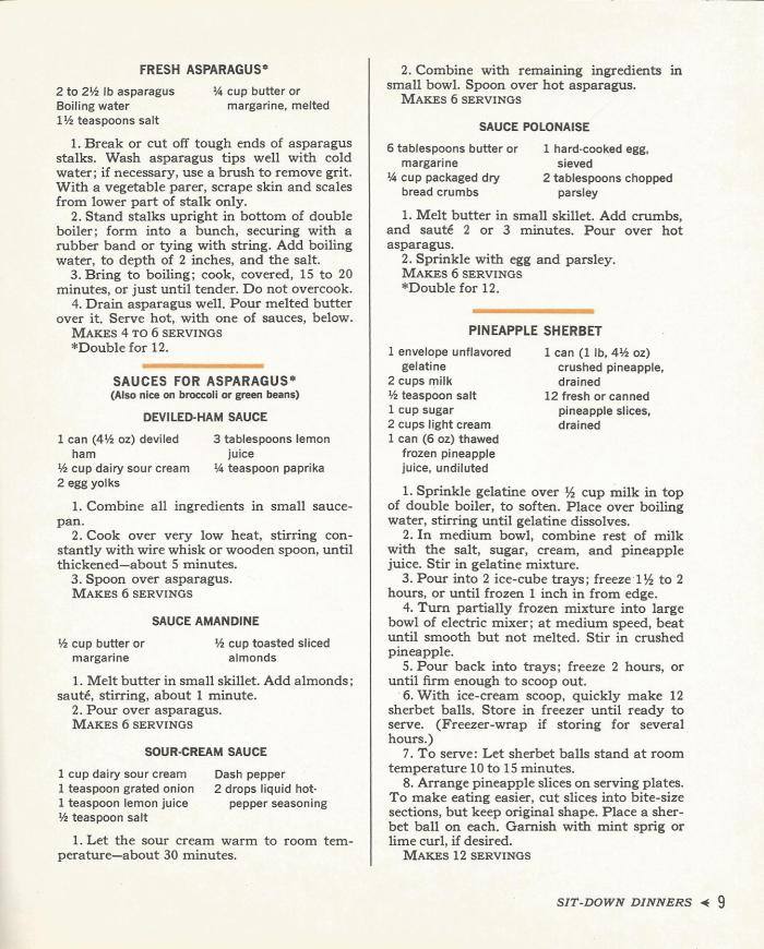 Vintage Recipes: 1960s Sit Down Meals