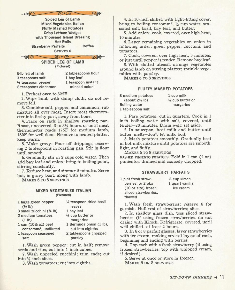 Vintage Recipes: 1960s Sit Down Meals