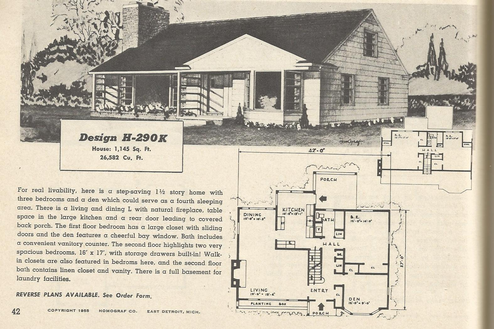 Vintage house plans 290 antique alter ego for Retro modern house plans