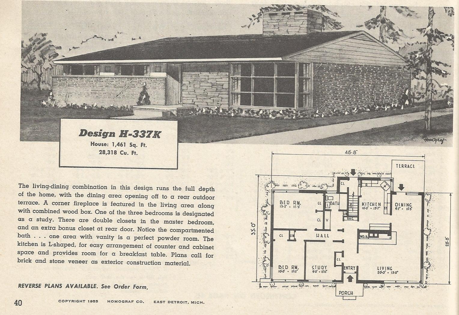 Vintage house plans 337 antique alter ego for Retro modern house plans