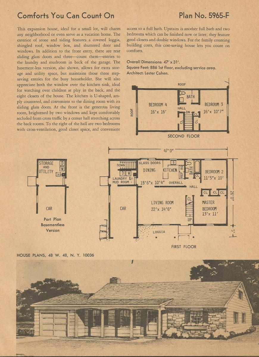 Vintage House Plans, mid century homes, vintage homes