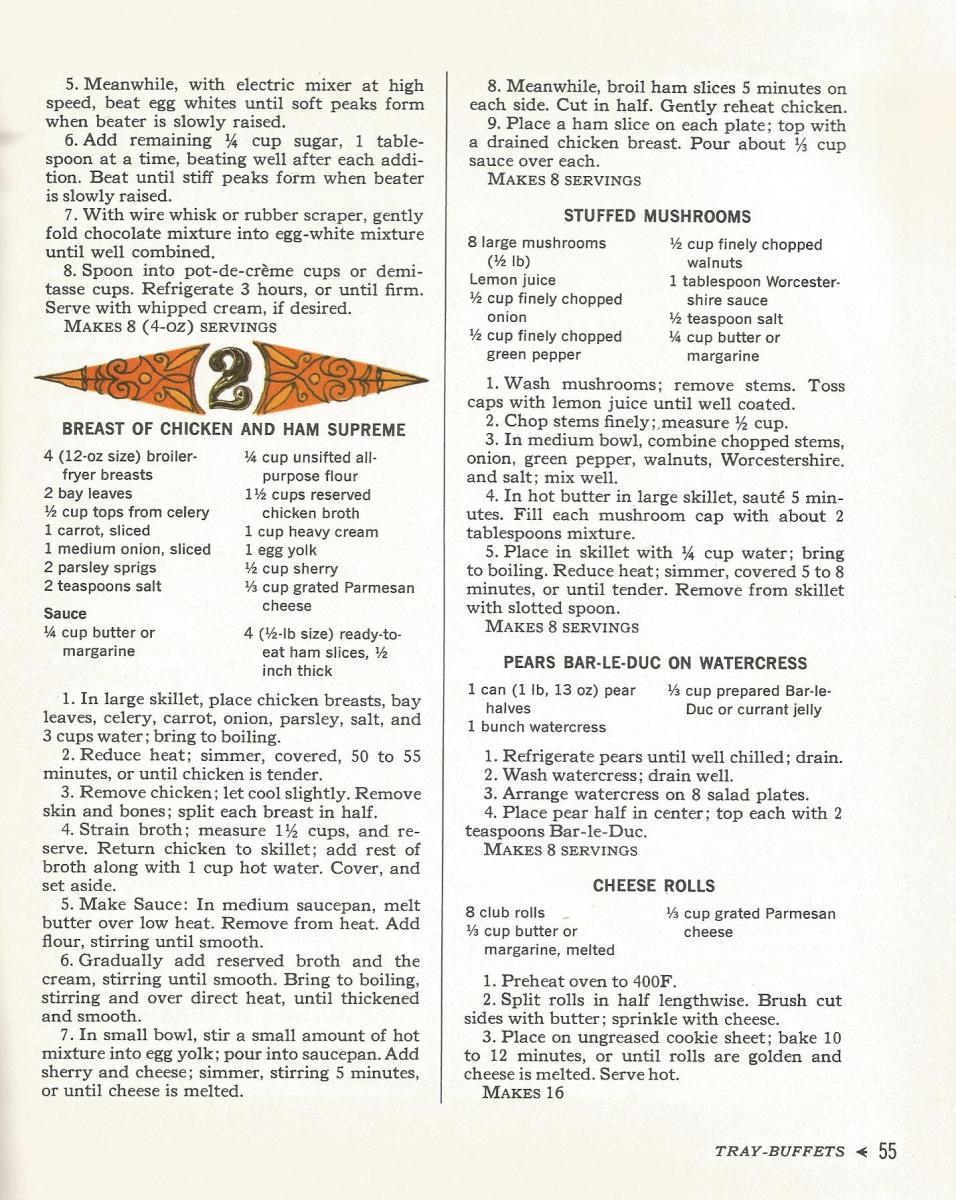 Vintage Recipes, Tray Buffets