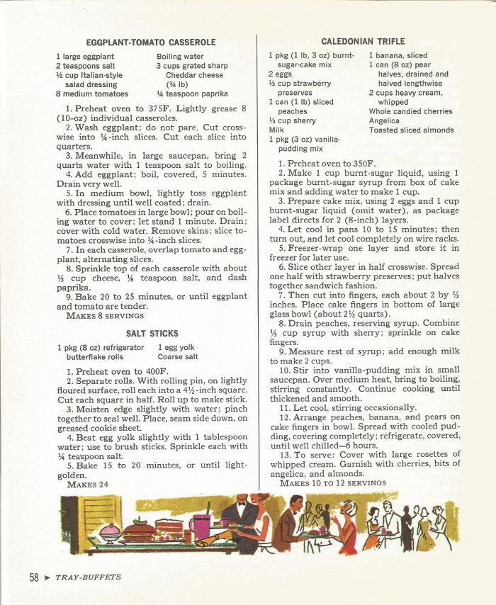 Vintage Recipes, Tray Buffets